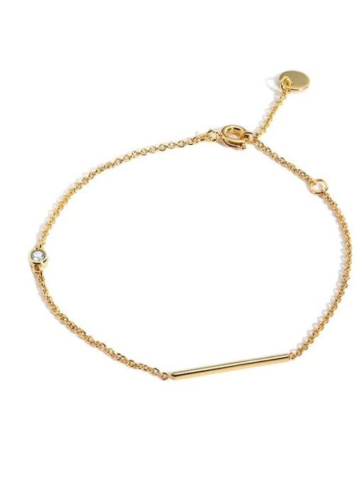 CHARME Brass Rhinestone Geometric Minimalist Link Bracelet 0
