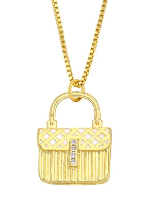 white Brass Cubic Zirconia Enamel Geometric Minimalist Necklace