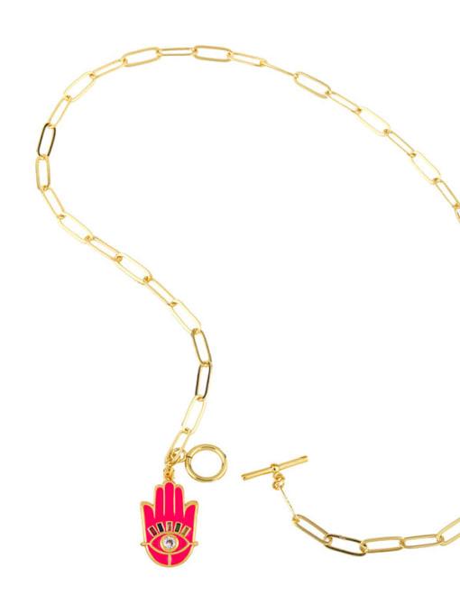 CC Brass Enamel Evil Eye Vintage palm Pendant Necklace 4