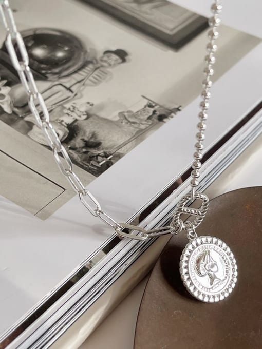Boomer Cat 925 Sterling Silver Geometric Vintage Asymmetric chain Necklace 3