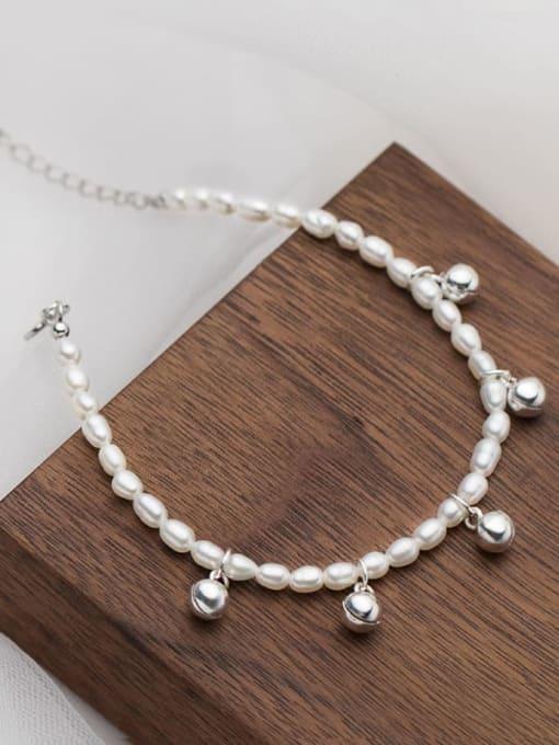 Rosh 925 Sterling Silver Imitation Pearl Bell Minimalist Beaded Bracelet
