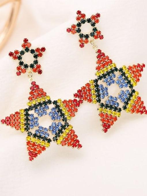Luxu Brass Rhinestone Star Ethnic Drop Earring 2