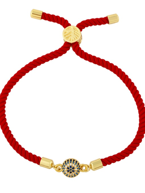 Red rope ball gold Brass Cubic Zirconia Heart Vintage Woven Wire Bracelet