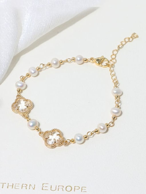 RAIN Brass Glass Stone Clover Minimalist Bracelet 2