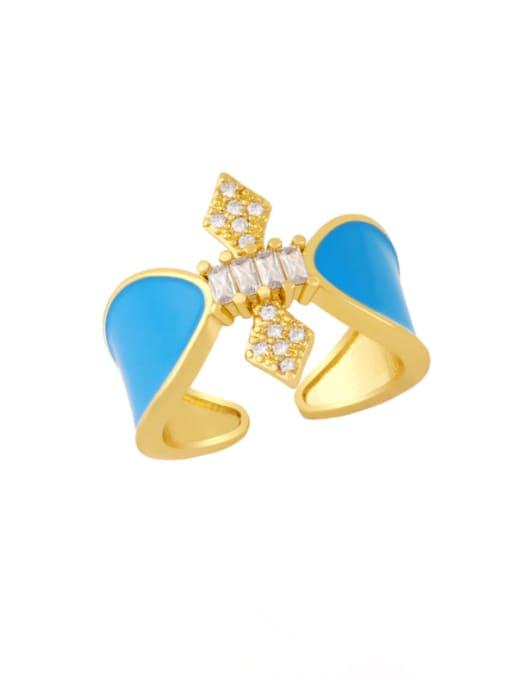Light blue Brass Enamel Rhinestone Geometric Vintage Band Ring