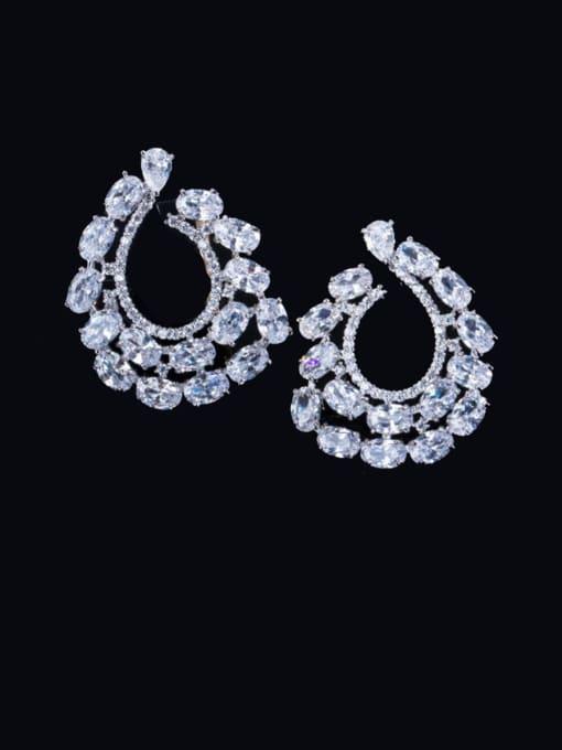 L.WIN Brass Cubic Zirconia Flower Luxury Cluster Earring 1