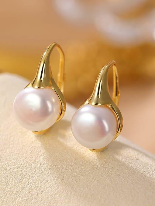 DEER 925 Sterling Silver Imitation Pearl Geometric Vintage Stud Earring 2