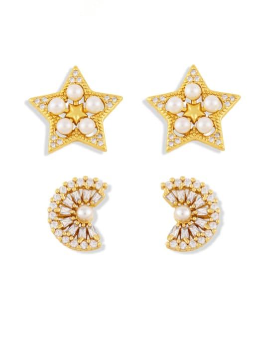 CC Brass Cubic Zirconia Star Vintage Stud Earring