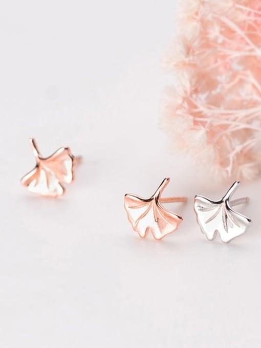 Rosh 925 Sterling Silver Leaf Minimalist Stud Earring 2