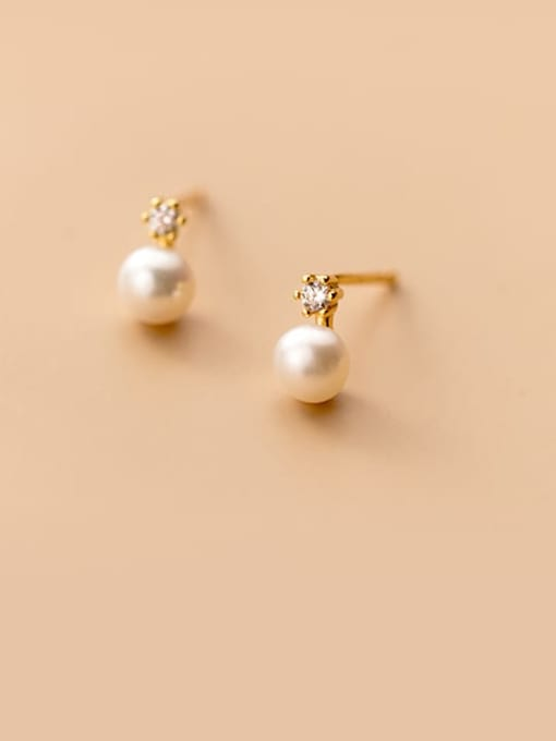 Rosh 925 Sterling Silver Imitation Pearl Round Minimalist Stud Earring 0