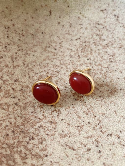 Boomer Cat 925 Sterling Silver Ruby Oval Vintage Stud Earring