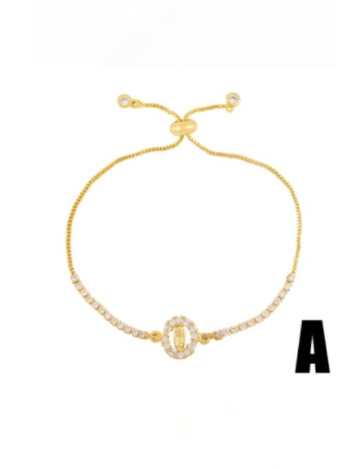 A Brass Cubic Zirconia Evil Eye Vintage Adjustable Bracelet