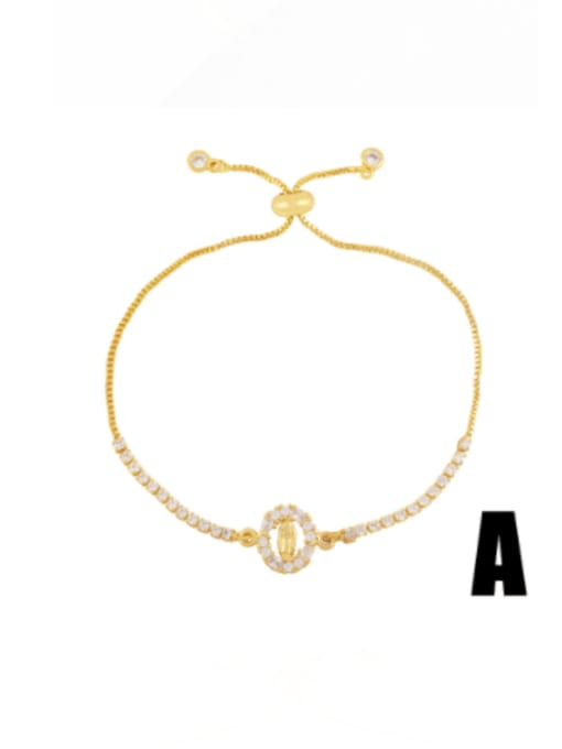 CC Brass Cubic Zirconia Evil Eye Vintage Adjustable Bracelet
