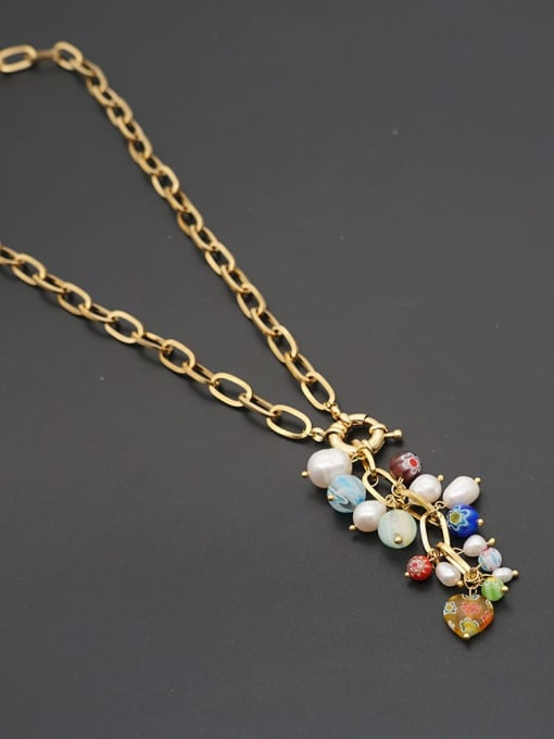 ZZ N200037A Stainless steel Freshwater Pearl Tassel Bohemia Necklace