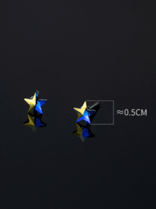 Rosh 925 Sterling Silver Cubic Zirconia Star Minimalist Stud Earring 3