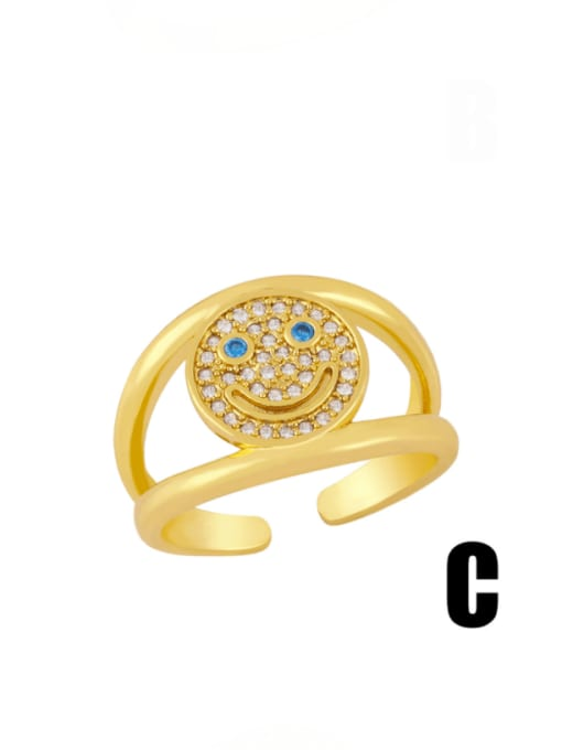 C Brass Cubic Zirconia Smiley Vintage Band Ring