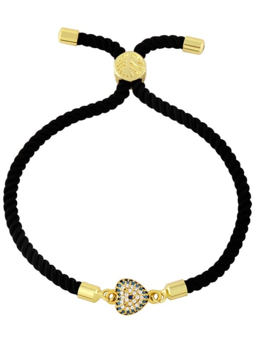 Black rope love gold Brass Cubic Zirconia Heart Vintage Woven Wire Bracelet
