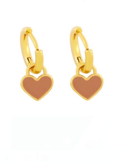Coffee Brass Enamel Heart Minimalist Huggie Earring