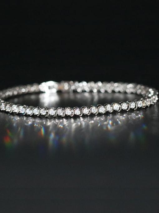 Platinum Brass Cubic Zirconia Multi Color Geometric Dainty Bracelet