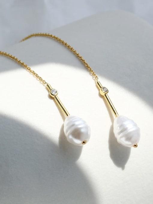 CHARME Brass Imitation Pearl Tassel Minimalist Threader Earring 3