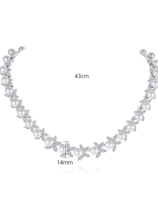 BLING SU Brass Imitation Pearl Flower Luxury Necklace 2