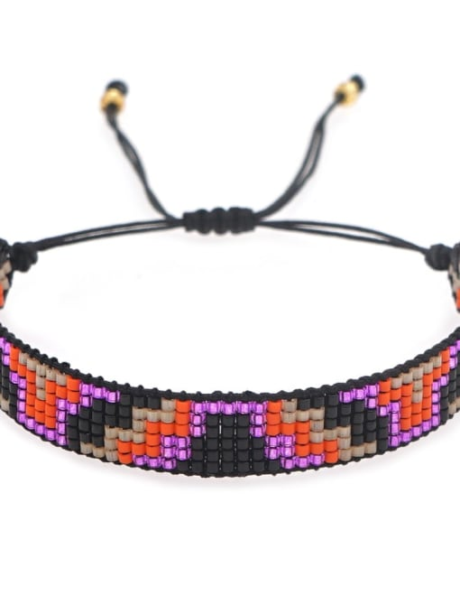 MI B200171B Multi Color Miyuki DB  Bead Geometric Artisan Handmade Weave Bracelet