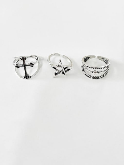 Boomer Cat 925 Sterling Silver Cross Minimalist Band Ring 3
