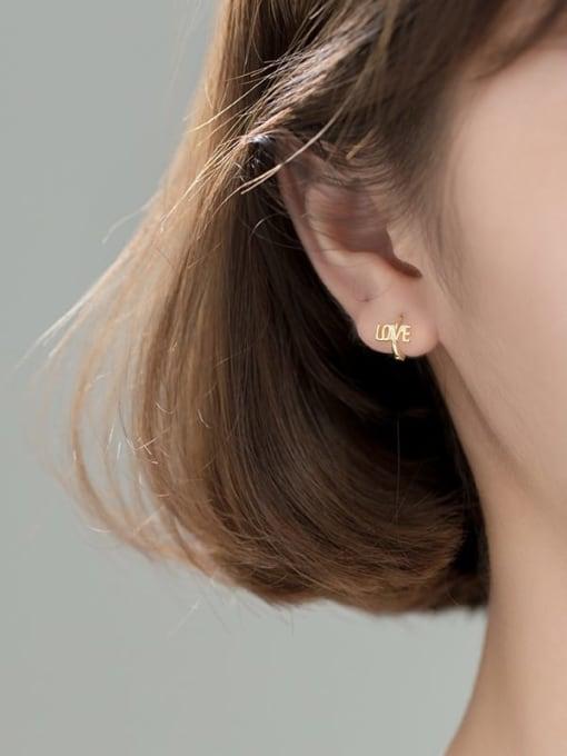 gold 925 Sterling Silver Letter Vintage Stud Earring