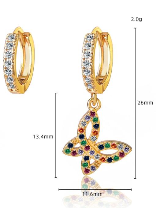 DUDU Brass Cubic Zirconia Asymmetry Butterfly Vintage Huggie Earring 2