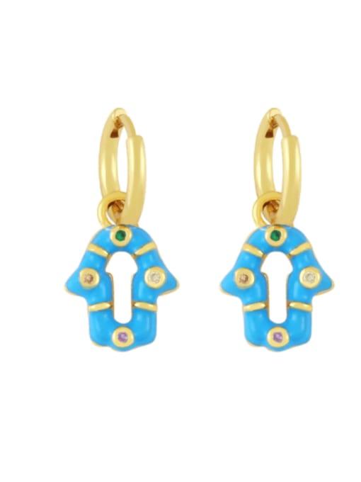 blue Brass Enamel Geometric Vintage Huggie Earring