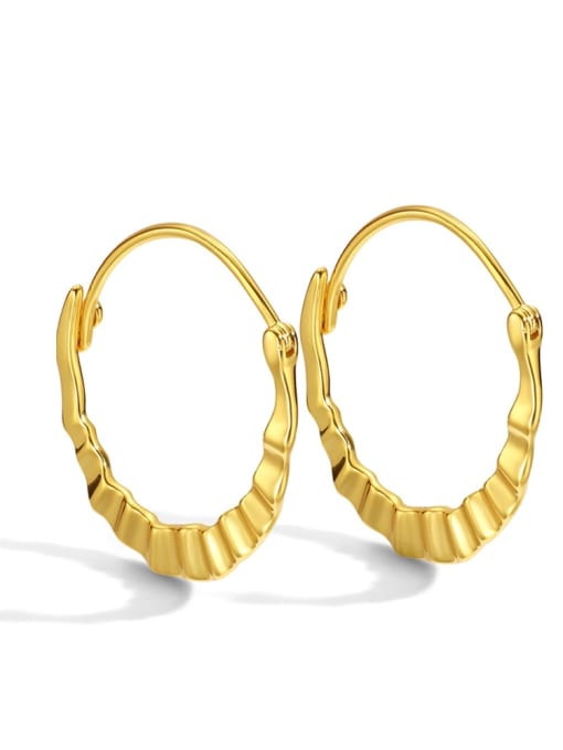 Gold Brass Smooth Geometric Vintage Huggie Earring