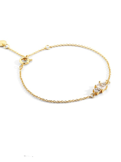 CHARME Brass Cubic Zirconia Geometric Vintage Link Bracelet