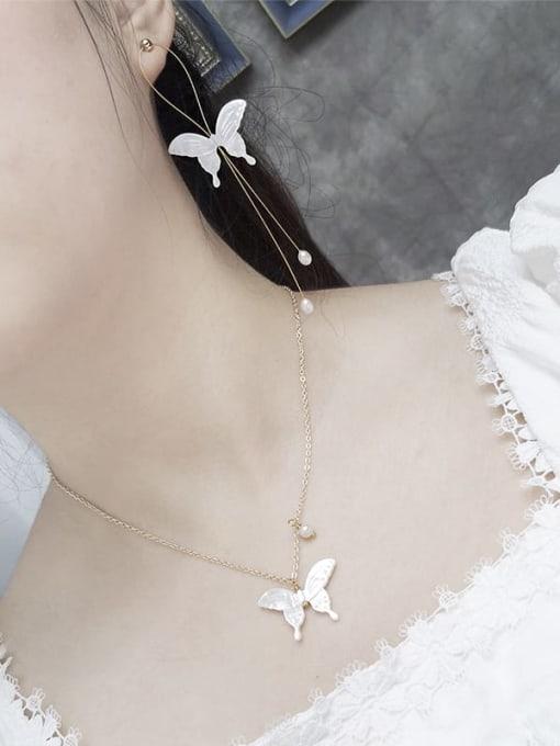 RAIN Brass Shell  Minimalist ButterflyEarring and Necklace Set 1