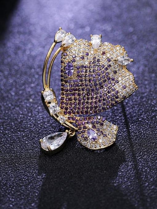 Gold +purple Brass Cubic Zirconia Butterfly Statement Brooch