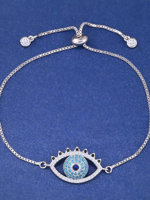 CC Brass Cubic Zirconia Evil Eye Minimalist Adjustable Bracelet 1