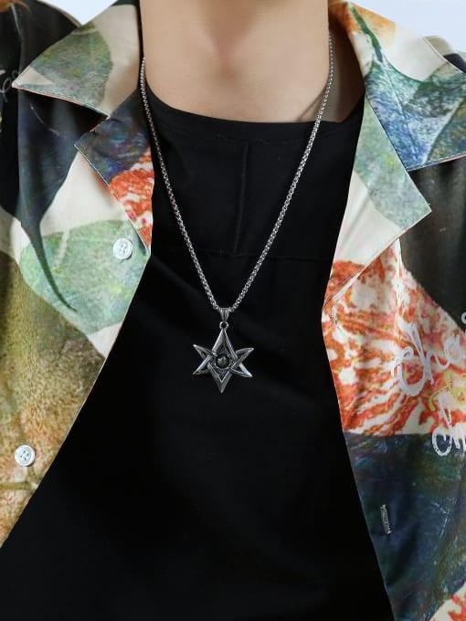 Open Sky Titanium Steel Star Hip Hop Necklace 2