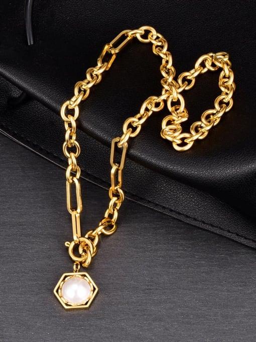 A TEEM Titanium Steel Imitation Pearl Hexagon Vintage Necklace 1