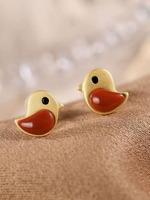 DEER 925 Sterling Silver Carnelian Bird Cute Stud Earring 3
