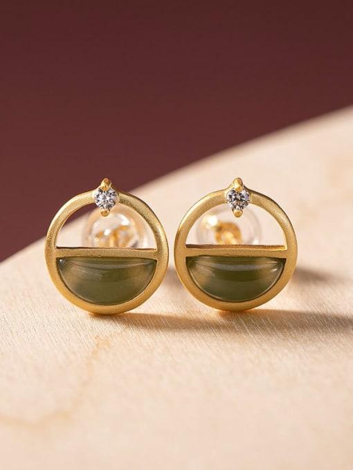 Blue jade 925 Sterling Silver Jade Geometric Vintage Stud Earring