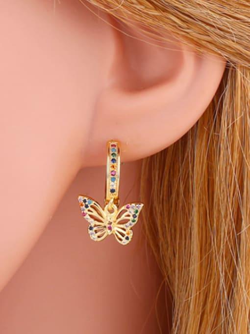 CC Brass Cubic Zirconia Heart Dainty Huggie Earring 1