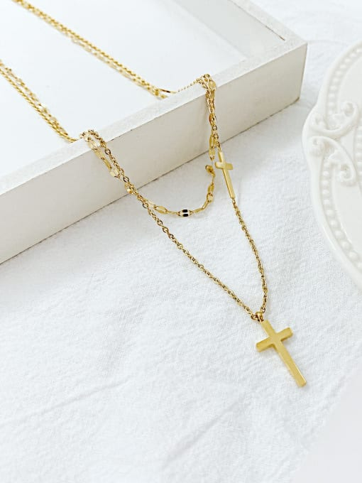 Open Sky Titanium Steel Cross Minimalist Multi Strand Necklace 0
