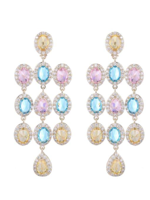 Luxu Brass Cubic Zirconia Tassel Statement Drop Earring 3