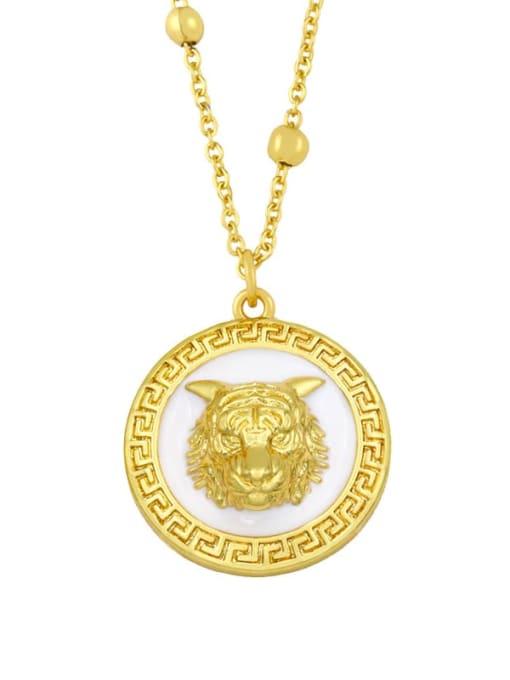 white Brass Cubic Zirconia Tiger Vintage Necklace