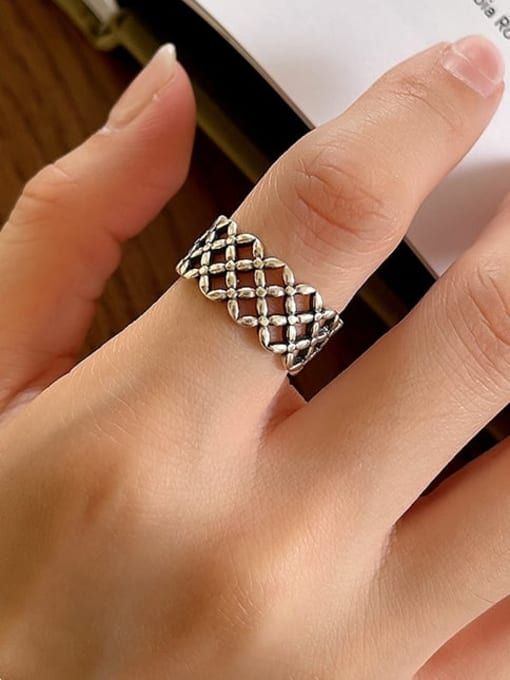Plaid ring J120 3.8g 925 Sterling Silver Hollow Cross Vintage Band Ring