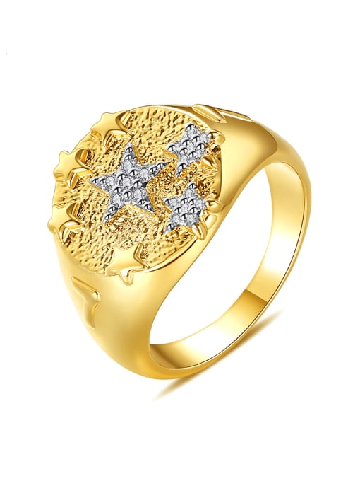 BLING SU Copper Two-color plating Geometric Vintage Band Ring