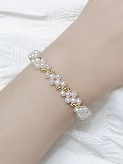 RAIN Brass Freshwater Pearl Flower Vintage Beaded Bracelet 1