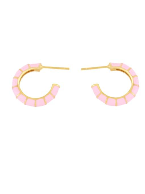 Pink Brass Enamel Geometric Minimalist Stud Earring