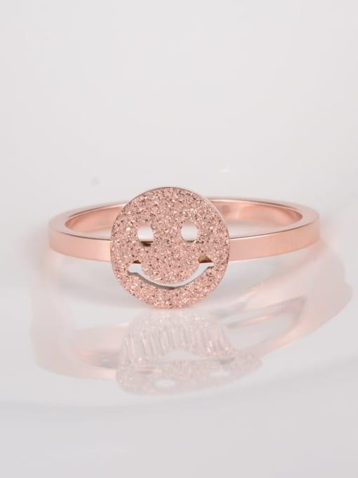 A TEEM Titanium Steel Smiley Minimalist Band Ring 0