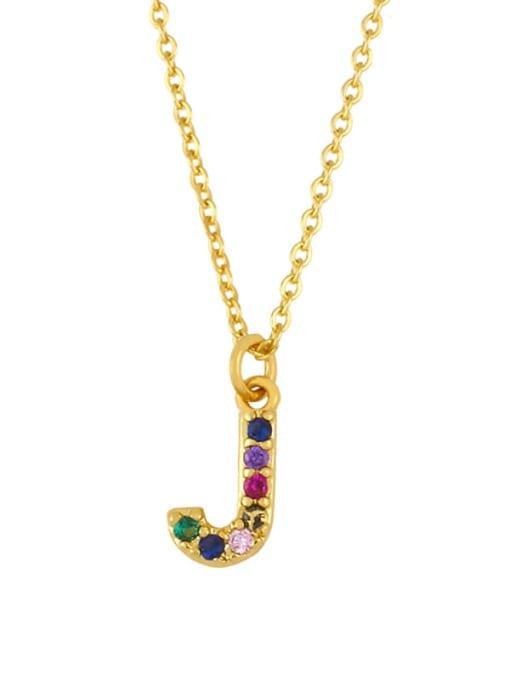 J Brass Cubic Zirconia Letter Vintage Necklace
