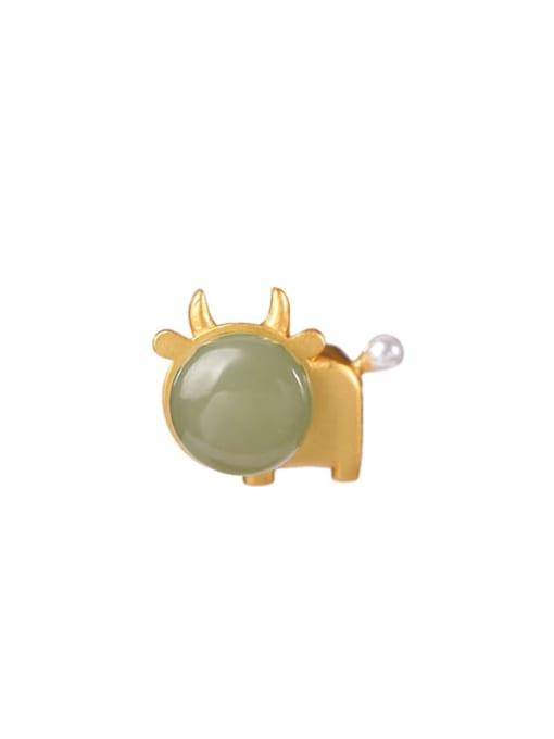 DEER 925 Sterling Silver Jade Cute Zodiac Pendant 0